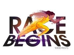 Female Relay Runner in action, Abstract Sports background with Big Text Race Begins, Can be used as Poster, Banner or Flyer design.