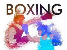 Boxing sports background with illustration of boxers fighting, made by abstract design, Can be used as Poster, Banner or Flyer also.