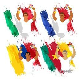 Creative illustration of players in winning pose on participant countries Flags background for Sports concept.