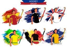 Creative illustration of hockey group players on participant countries Flags background for Sports concept.