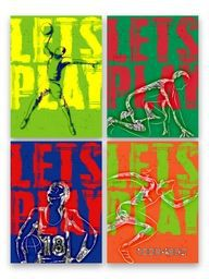 Set of four creative Poster, Banner or Flyer design with illustration of Basketball Player and Runner in action, Colorful Sports typographical background.
