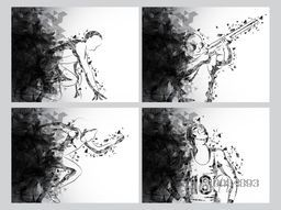 Creative line art illustration of different game players in action, Sports background for Race, Shooting and Basketball Games, Abstract Poster, Banner or Flyer design.