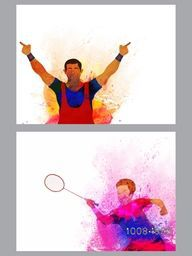 Creative illustration of  Badminton and Winner Player made by watercolor splash, Abstract Sports background with space for text, Can be used as Template, Brochure, Flyer design.