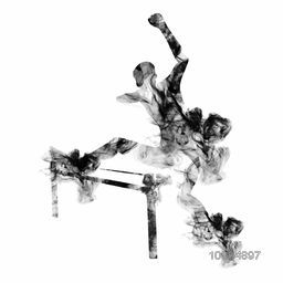 Male hurdler jumping over hurdle, Creative vector illustration made by smoke effects on white background for Sports concept.