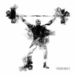 Weight Lifter Athlete lifting heavy weight, Creative vector illustration made by smoke effects on white background for Sports concept.