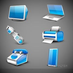 Modern office electronic icons set on grey background. EPS 10.