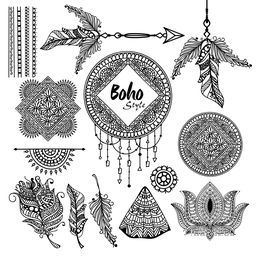 Set of floral Boho style hand drawn elements as Ethnic Feathers, Dream Catcher, Lotus Flower, Arrow etc.