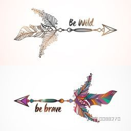 Creative Boho style ethnic Arrows with Feathers on shiny background.