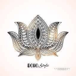 Shiny ethnic ornamental Lotus Flower. Creative Hand drawn Boho style element.