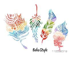 Creative colorful floral ornamental Feathers set in Boho style.