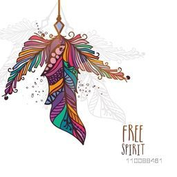 Creative colorful ethnic feathers. Hand drawn boho style element.