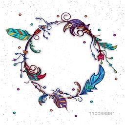 Colorful Boho Feathers decorated, Hand drawn rounded Frame with space for your text.