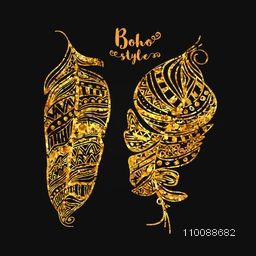 Creative hand drawn illustration of Golden Ethnic Feathers in Boho style.