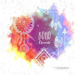 Creative hand drawn illustration of Boho elements on abstract colorful splash background.