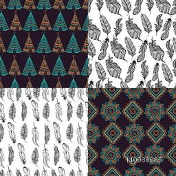 Set of four different hand drawn seamless patterns with boho style elements as ethnic feathers, teepee and floral design.
