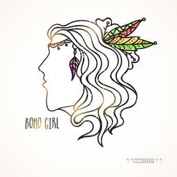 Creative hand drawn line art illustration of Boho Girl.