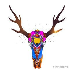 Creative hand drawn illustration of colorful decorative Deer Skull in Boho style.