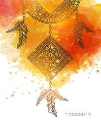 Creative hand drawn Dream Catcher with ethnic ornamental feathers on abstract watercolor brush stroke background.