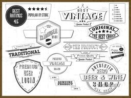 Black and white illustration of vintage tags or labels collection for your products.