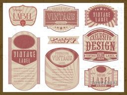 Vintage stickers, tags or labels collection on grungy white background.