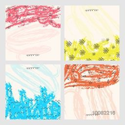 Set of four hand drawn texture or background with colorful abstract pattern.Design for banner, poster, card, invitation, placard, brochure, flyer.