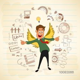 Young happy Businessman in wings, showing thumbs up on infographic elements decorated notebook paper background.