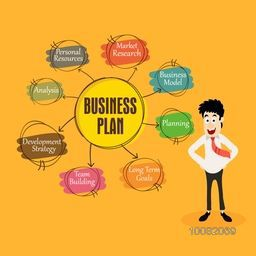 Illustration of a young happy man with various Business Plan strategies on yellow background.