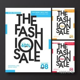 The Fashion Sale Poster, Sale Banner, Sale Flyer, Extra 40% Off. Vector illustration in three color options.