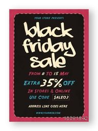 Black Friday Sale Poster, Sale Banner, Sale Flyer, Extra 35% Discount, Limited Time Sale, Online Sale. Creative vector illustration.