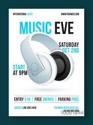 Music Eve Template, Banner or Flyer design with glossy headphone and party details.