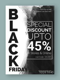 Black Friday Sale, Sale Flyer, Sale Banner, Sale Poster, Special Discount Upto 45%, Online Sale. Vector illustration with abstract design.