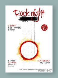 3 Days Rock Night Party Template, Dance Party Flyer, Musical Party Banner or Club Invitation design.