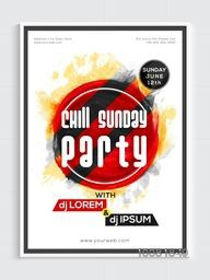 Chill Sunday Party Template, Dance Party Flyer, Night Party Banner or Club Invitation design.