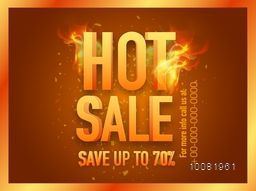 Hot Sale Banner, Sale Poster, Sale Flyer, Sale Vector. Save Up To 70%, 70% Discount, Vector illustration.