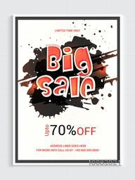 Big Sale Flyer, Sale Banner, Sale Poster, Sale Template, 70% Discount Offer, Creative Sale Vector Illustration with abstract splash.