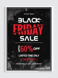 Black Friday Sale text design Flyer, Sale Banner, Sale Poster, Discount upto 60% Off for Limited Time, Creative Sale Vector illustration with abstract splash.