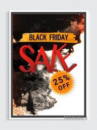 Black Friday Sale Flyer, Sale Banner, Sale Poster, 25% Discount Offer, Creative Sale Vector Illustration with abstract splash.