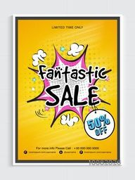 Fantastic Sale Flyer, Sale Banner, Pop art Sale Poster, 50% Off for Limited Time Only, Creative Vector Illustration.