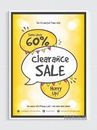 Shiny Clearance Sale Flyer, Sale Poster, Sale Banner, Save upto 60% for Limited Time Only, Vector Illustration.