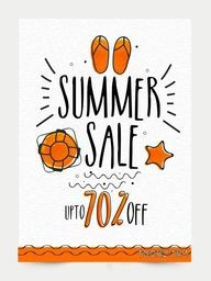 Summer Sale Banner, Sale Poster, Sale Flyer, Sale Vector. 70% Off, Sale Background. Big Sale, Super Sale, Special Offer.Vector illustration.