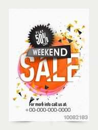 Weekend 50% Sale Banner, Sale Poster, Sale Flyer, Sale Vector. 50% Off, Sale Background. Big Sale, Super Sale, Special Offer on Every Brands.Vector illustration.