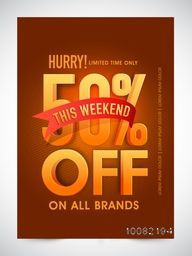 Sale Banner, Sale Poster, Sale Flyer, Sale Vector. 50% Off. This Weekend Only, On All Brands. Vector illustration.