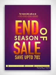 End Of Season Sale Banner, Sale Poster, Sale Flyer, Sale Vector. Save Up To 70%, 70% Discount. Vector illustration.