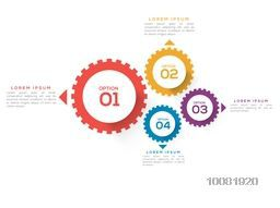Creative colorful cog wheel infographics on white background for your Business.