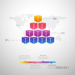 Creative infographic elements with colorful cubes for Business.
