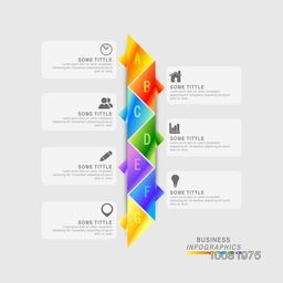 Creative colorful infographic elements on grey background for Business.