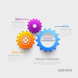 Creative colorful cog wheel infographics on grey background for Business.