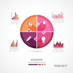 Set of creative infographic elements including statistical graphs and charts for Business.