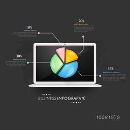 Creative infographic elements with glossy colorful pie chart on laptop screen for your Business.