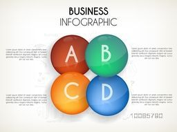 Glossy infographic elements with alphabets for Business concept.